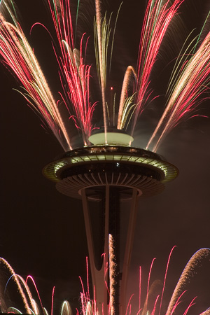 Fireworks on Space Needle
